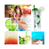 Collage Background With Cocktail And Travel Concept Posters by  haveseen