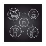 Coffee Elements Chalkboard Illustration Poster by  cienpies