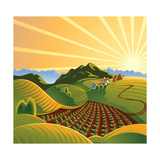 Summer Solar Rural Landscape With A Sunset And Mountains Posters by  crop