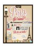 Typographical Retro Style Poster With Paris Symbols And Landmarks Affiches par  Melindula