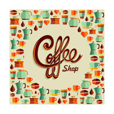 Coffee Flat Icon Poster Illustration Poster by  cienpies
