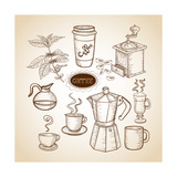 Coffee Elements Hand Drawn Illustration Print by  cienpies