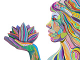 Woman Face With Multicolored Indian Pattern Holding Lotus Flower, Side View, Digital Painting Prints by  shooarts