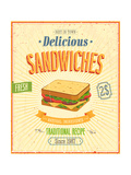 Vintage Sandwiches Poster Poster by  avean
