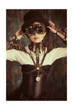 Portrait Of A Beautiful Steampunk Woman Over Grunge Background Posters by  prometeus