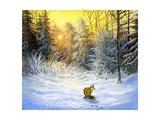 Winter Landscape With A Fox On A Decline Print by  balaikin2009