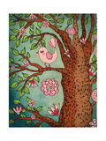 Vintage Wallpaper: Cute Bird Perched On A Flowering Tree Posters by  LanaN.