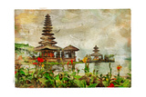 Mysterious Balinese Temples, Artwork In Painting Style Affiches par  Maugli-l