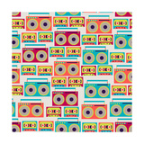 Seamless Pattern With Tape Recorders And Audio Cassette Poster by  incomible