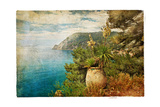 Picturesue Italian Coast - Artwork In Retro Painting Style Art by  Maugli-l