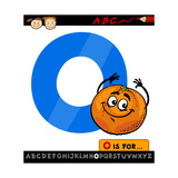 Letter O With Orange Cartoon Illustration Print by Igor Zakowski