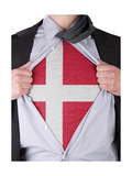 Business Man With Danish Flag T-Shirt Prints by  IJdema