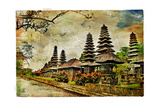 Mysterious Balinese Temples, Artwork In Painting Style Print by  Maugli-l