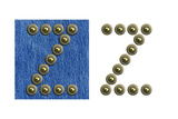 Jeans Rivet Alphabet Letter Z. On Jeans Background And Isolated Print by  donatas1205