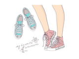 Shoes With Floral Pattern Art by cherry blossom girl