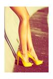 Woman Tan Legs In High Heel Yellow Shoes Outdoor Shot Summer Day Art by  coka