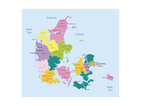 Denmark-Highly Detailed Map Prints by  ekler