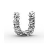 Letter U, Stacked From Paper Sheets Print by  iunewind