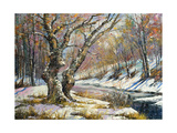 Winter Landscape With Wood And The River Prints by  balaikin2009