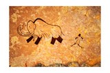 Cave Painting Of Primitive Man Hunting For Mammoth Art by Nomad Soul