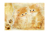Vintage Background With Paper Border And Kittens Picture Posters by  Maugli-l