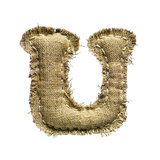 Linen Vintage Cloth Letter U Isolated On White Prints by  smaglov