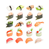 Sushi Set - Different Types Of Sushes Isolated On White Background Affiche par  heckmannoleg