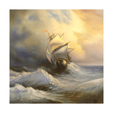 Ancient Sailing Vessel In Stormy Sea Posters by  balaikin2009