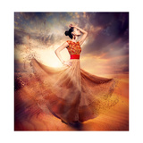 Dancing Fashion Woman Wearing Blowing Long Chiffon Dress Print by Subbotina Anna