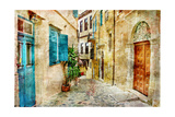 Pictorial Old Streets Of Greece - Picture In Painting Style Print by  Maugli-l