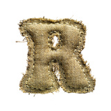 Linen Vintage Cloth Letter R Isolated On White Poster by  smaglov