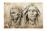 Tattoo Sketch Of American Indian Elders, Drawing Prints by  outsiderzone