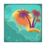 Vintage Tropical Island Background With Sun And Dark Clouds On Old Paper Poster Posters by  GeraKTV