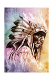 Sketch Of Tattoo Art, Indian Head Over Colorful Background Prints by  outsiderzone