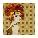 Art Colorful Sketching Beautiful Girl Face On Sepia Ornamental Background, In Art Deco Style Premium Giclee Print by Irina QQQ