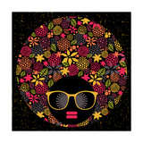 Black Head Woman With Strange Pattern Hair Poster by  panova