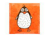 Cartoon Penguin. Cute Hand Drawn, Vintage Paper Texture Prints by Ozerina Anna
