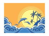 Seascape Waves Poster With Dolphins Affiche par  GeraKTV