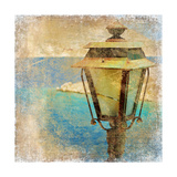Old Lantern By The Sea - Artistic Retro Styled Picture Prints by  Maugli-l