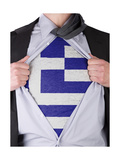 Business Man With Greek Flag T-Shirt Posters by  IJdema