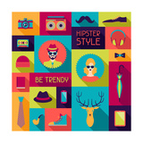 Hipster Background In Flat Design Style Posters by  incomible