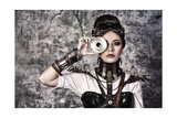 Portrait Of A Beautiful Steampunk Woman Over Grunge Background Art by  prometeus