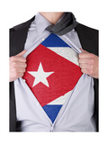 Business Man With Cuban Flag T-Shirt Print by  IJdema