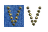 Jeans Rivet Alphabet Letter V. On Jeans Background And Isolated Posters by  donatas1205