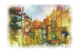 Nerudova Street In Old Prague Made In Artistic Watercolor Style Prints by Timofeeva Maria