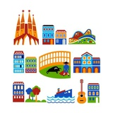 Barcelona - Landmarks And Attractions Prints by  Marish