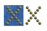 Jeans Rivet Alphabet Letter X. On Jeans Background And Isolated Poster by  donatas1205