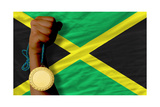Gold Medal For Sport And National Flag Of Jamaica Posters by  vepar5