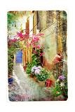 Pictorial Courtyards Of Greece- Artwork In Retro Painting Style Plakater af  Maugli-l