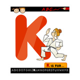 Letter K With Karate Cartoon Illustration Prints by Igor Zakowski